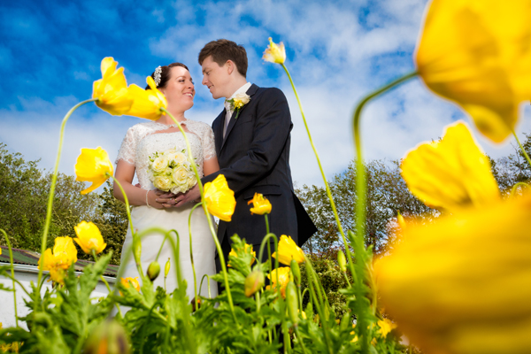 donegal wedding photographers bride and groom in a summer garden