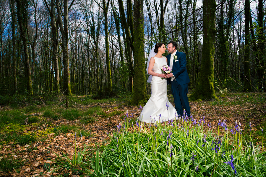 fermanagh wedding photographers bride and groom in a forest with bluebells