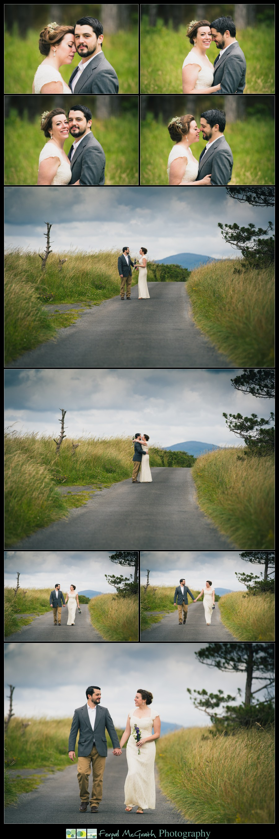 Donegal Wedding Photography bride and groom holding hands walking along a country lane