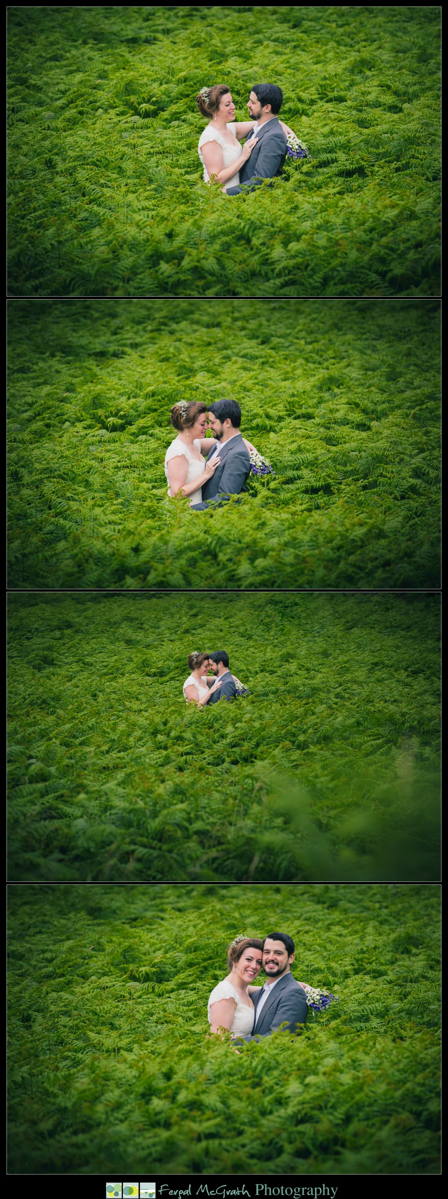 Donegal Wedding Photography amazing wedding photo of a bride and groom in a sea of ferns in murvagh donegal
