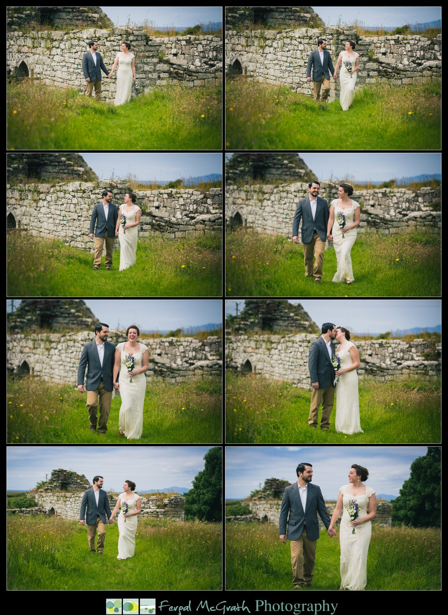 Donegal Wedding Photography bride and groom wedding photos walking in a wild meadow in donegal