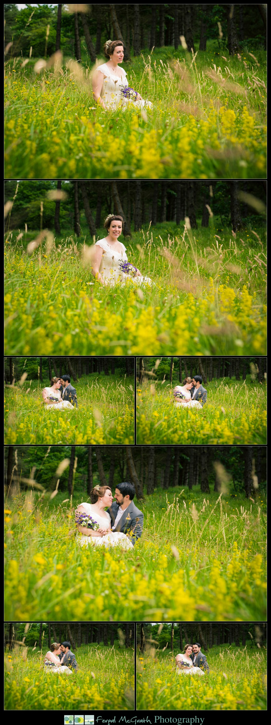 Donegal Wedding Photography bride and groom sit in a summer meadow for amazing wedding photos