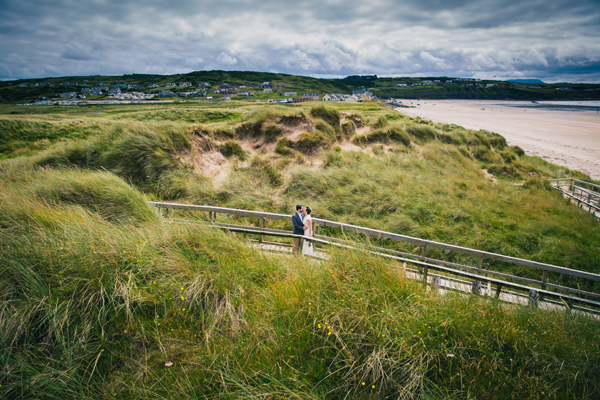 donegal and sligo wedding photography bride and groom on rossnowlagh beach