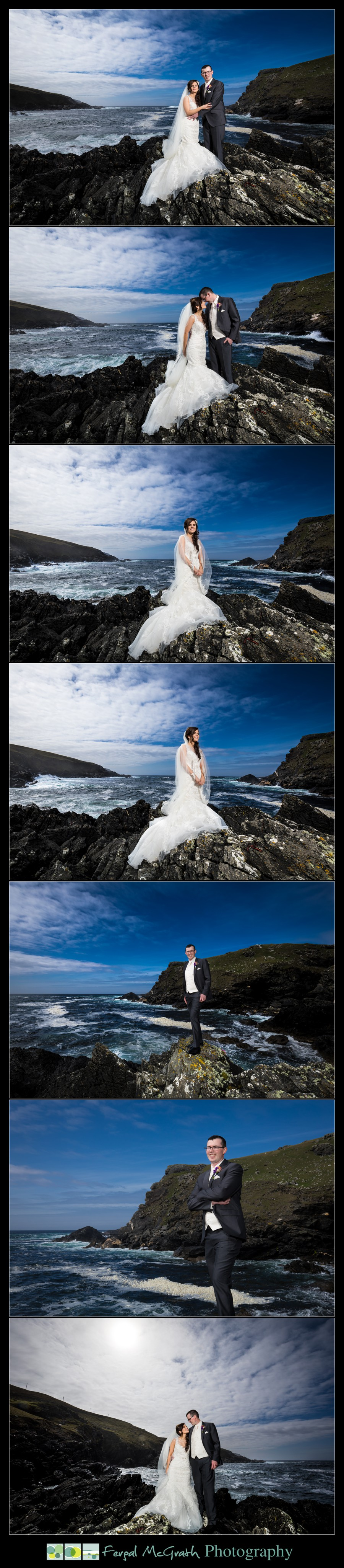 Glencolmcille wedding bride and groom photos by the ocean on the wild atlantic way in donegal