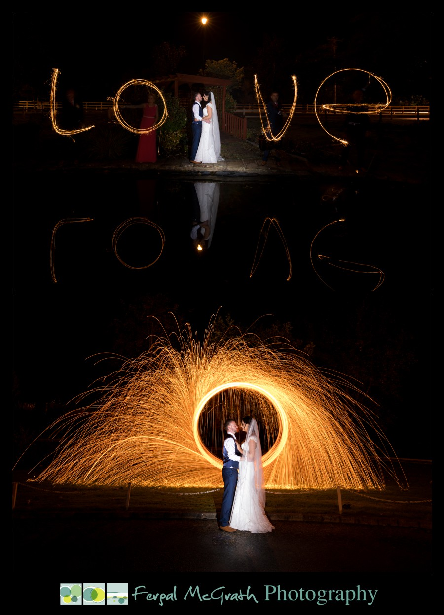 Mill Park Hotel Wedding Laura + John wedding photos with sparklers and steel wool