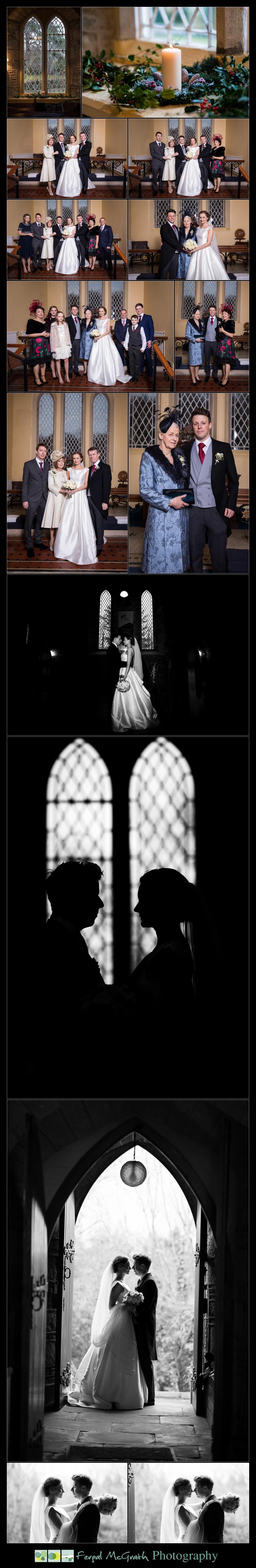 Harveys Point Hotel Winter Weddings bride and groom family photos inside the church