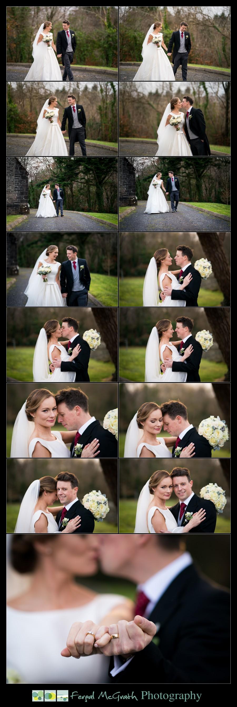 Harveys Point Hotel Winter Weddings beautiful bride and groom photos on the church grounds