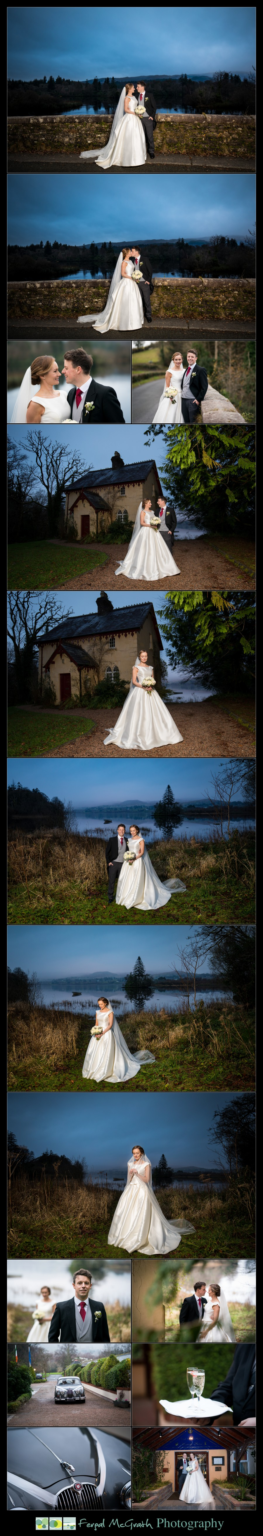 Harveys Point Hotel Winter Weddings bride and groom wedding photos on the shore of lough eske in donegal