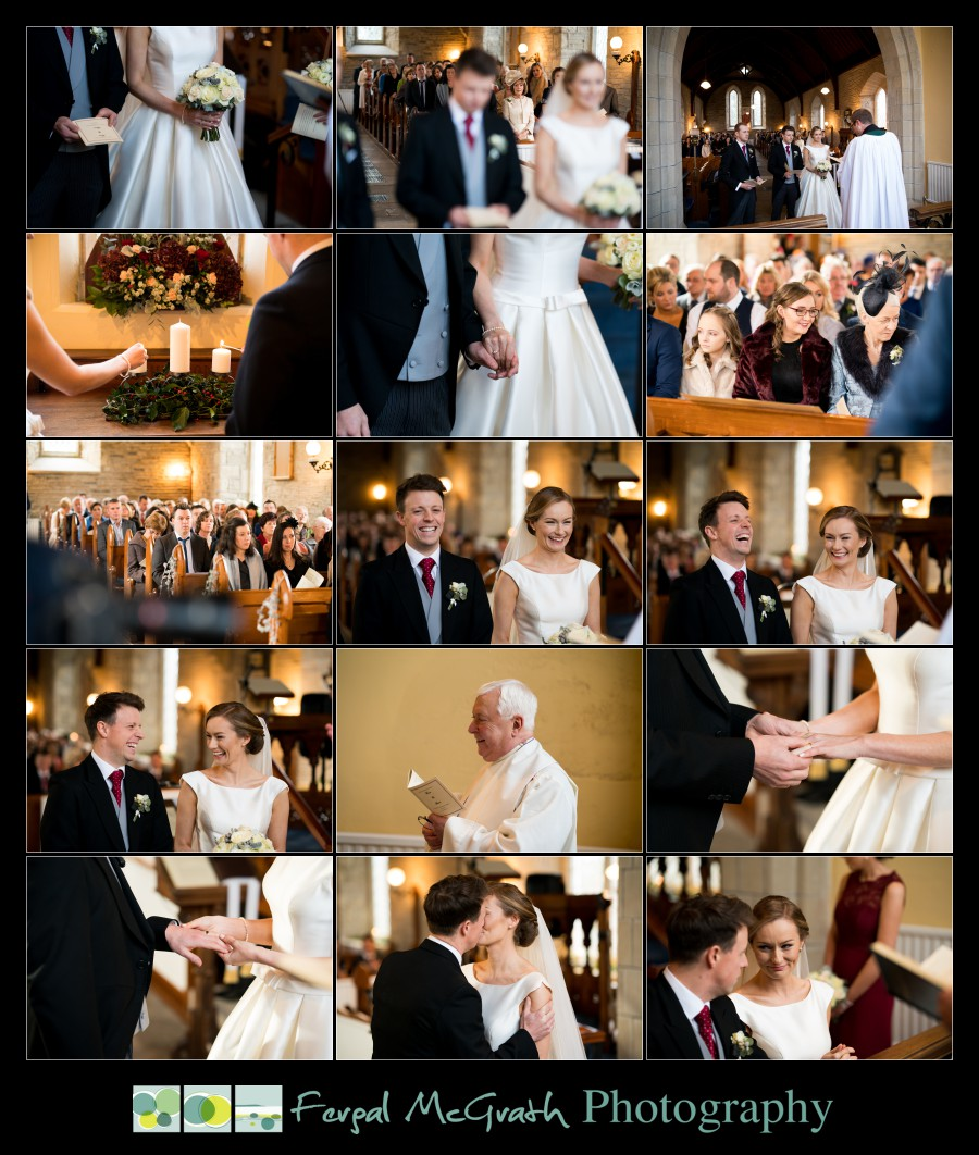 Harveys Point Hotel Winter Weddings bride and groom exchange vows in the church