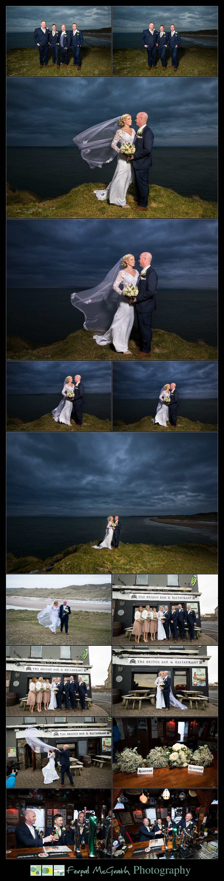 Great Northern Hotel Bundoran Winter Wedding bridal party photos in winter on roughey walk bundoran