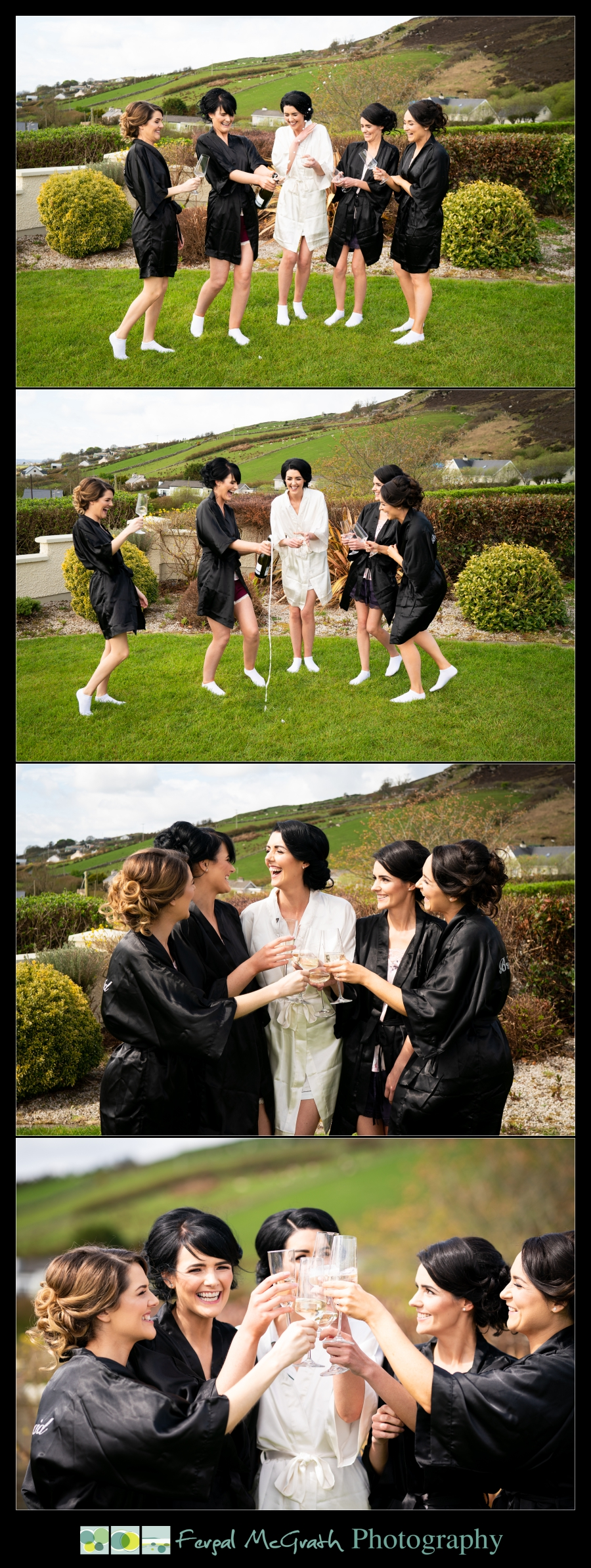Ballyliffin Lodge Hotel Weddings bride and bridesmaids opening champagne