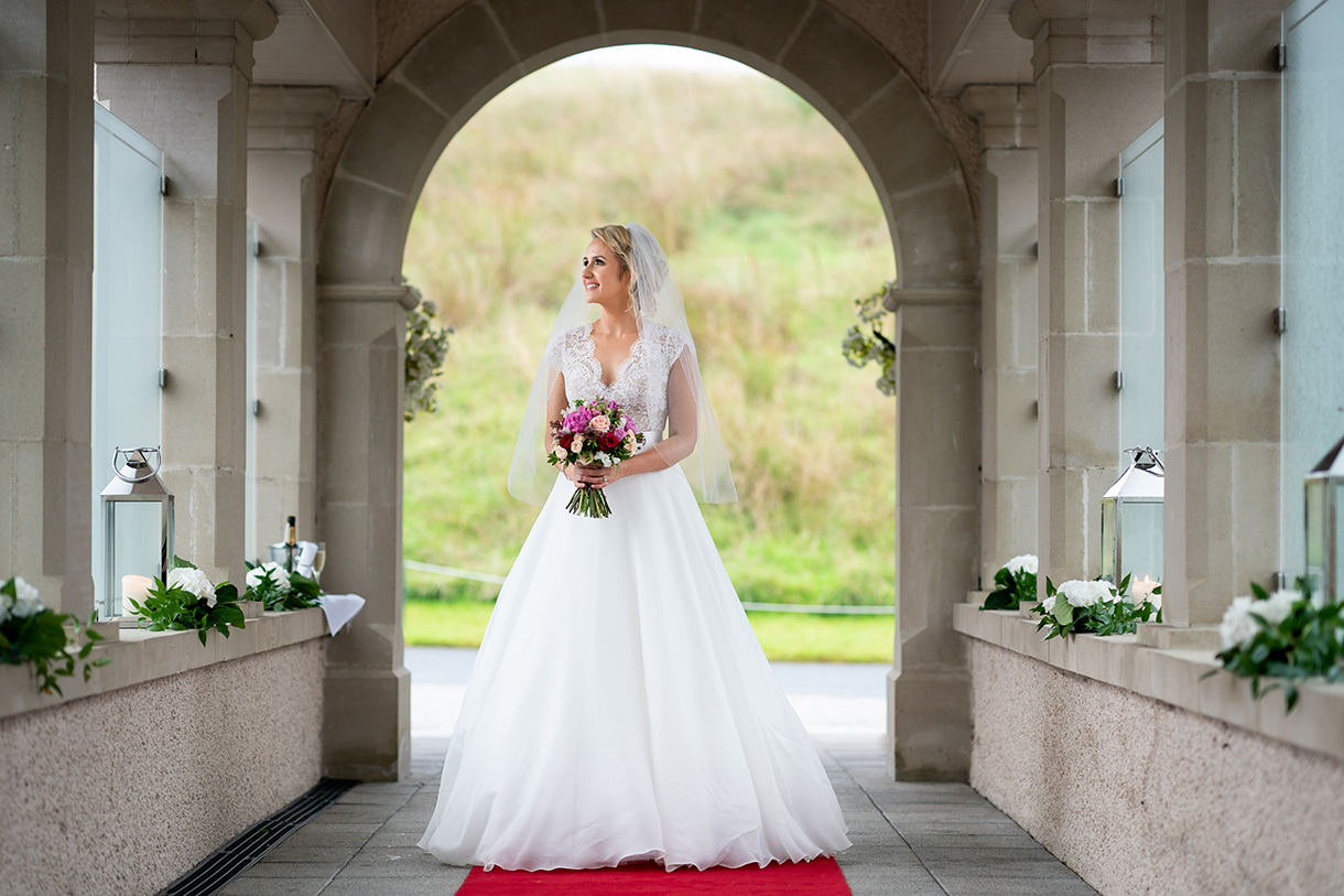 bride portrait on her wedding day in lough erne resort enniskillen co fermanagh