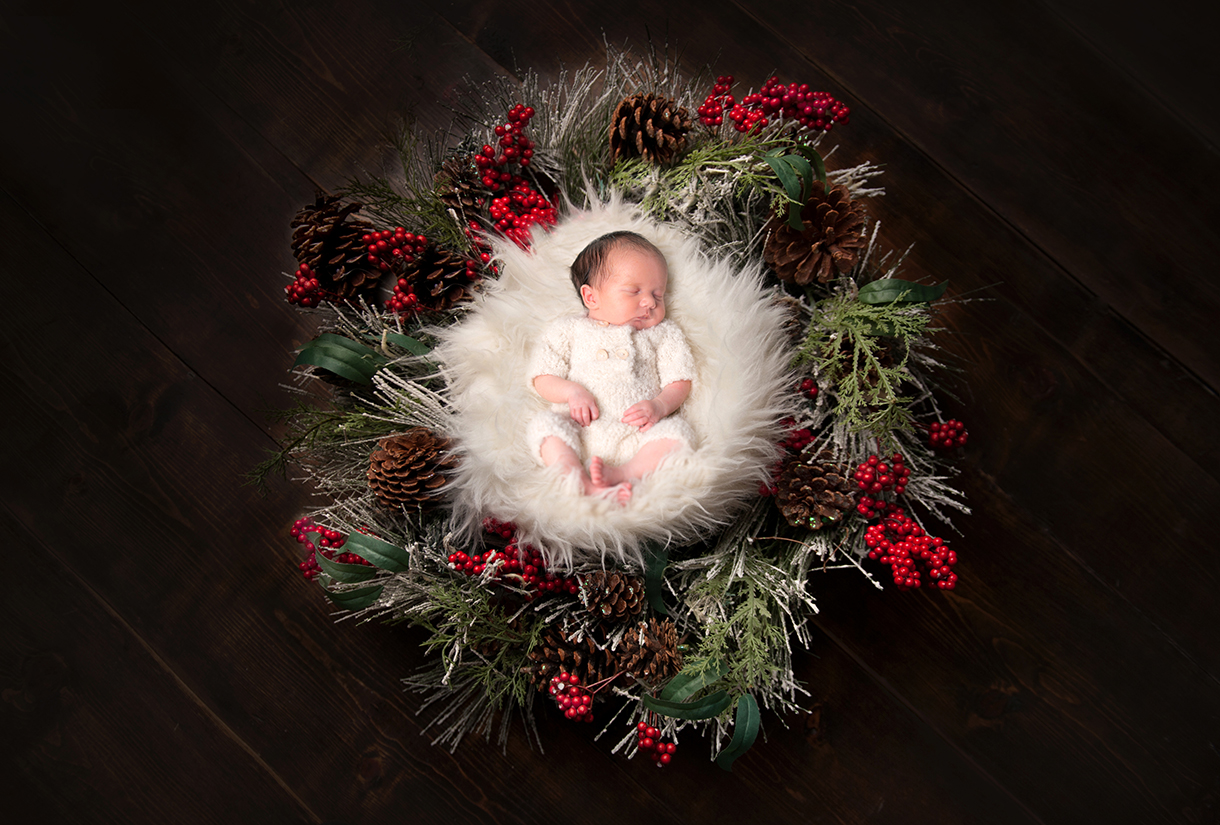 newborn baby Christmas photo