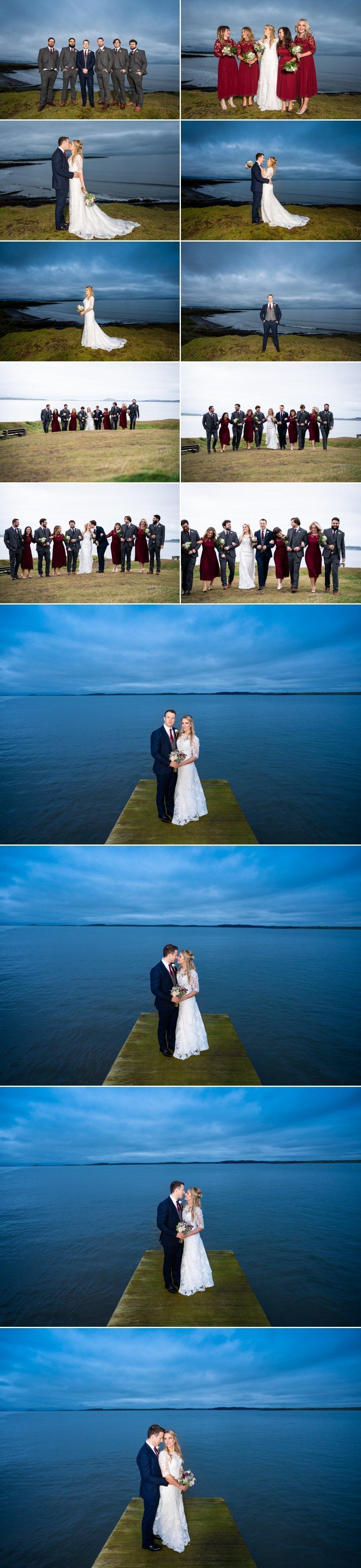 Markree Castle Sligo Wedding bride and groom photos at rosses point pier