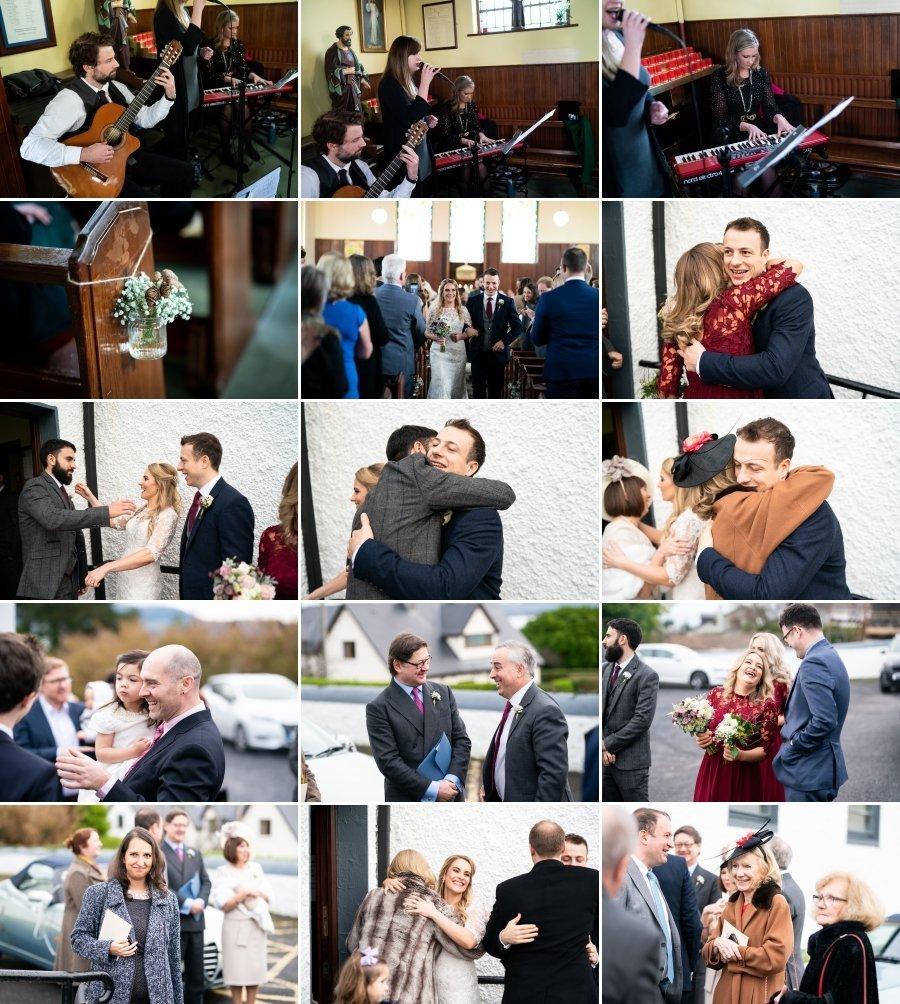 Markree Castle Sligo Wedding guests chatting outside church
