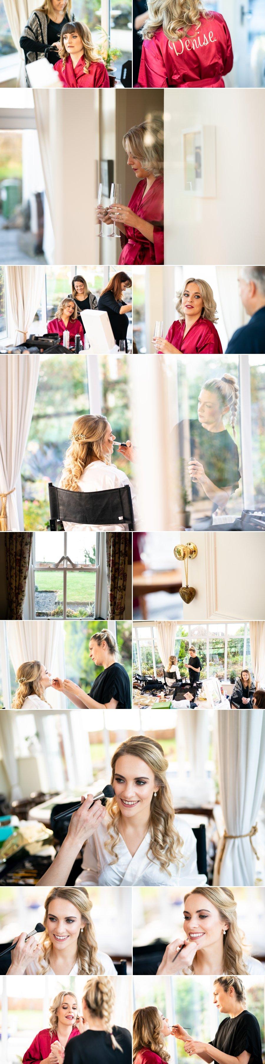 Markree Castle Sligo Wedding bride getting hair and makeup done