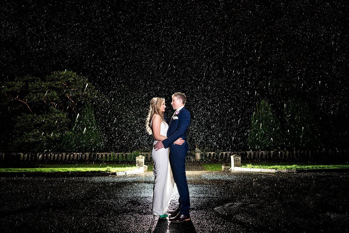 Belleek Castle Wedding bride an groom in the rain at nightat belleek castle in ballina county mayo