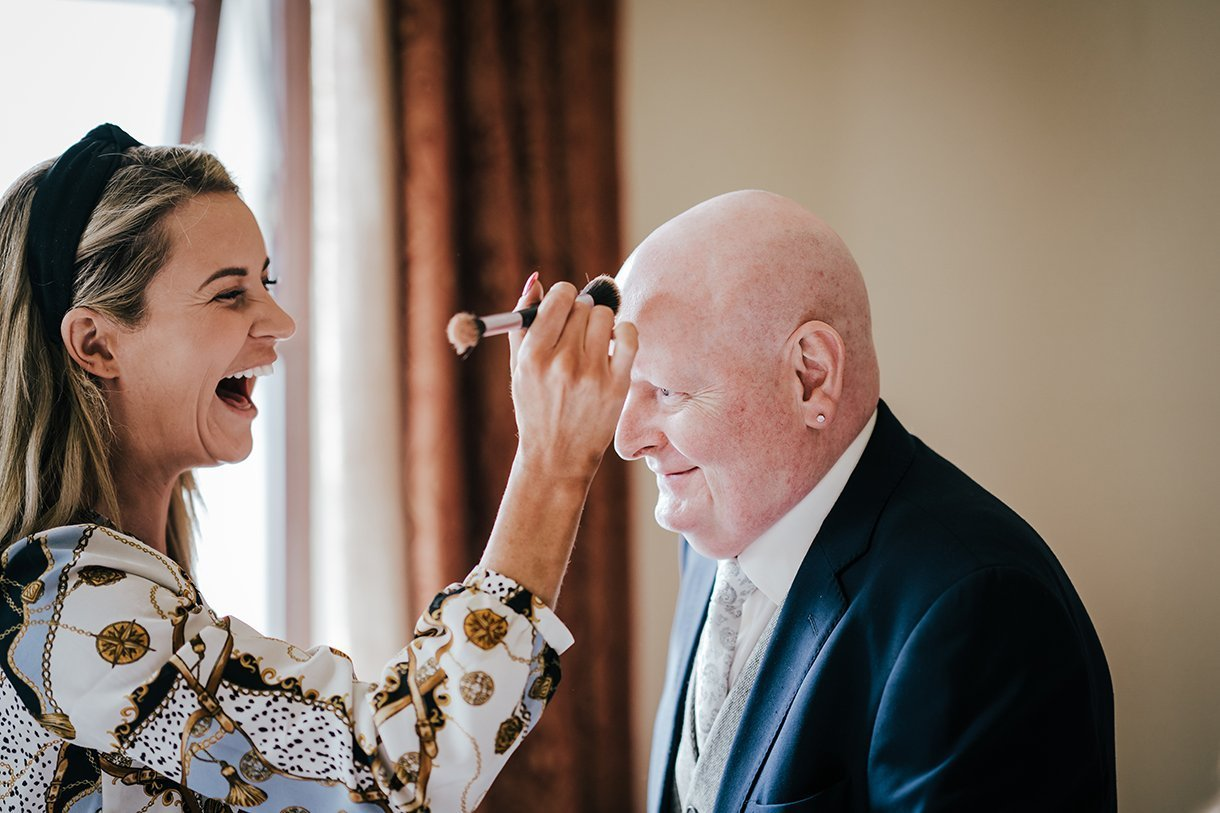 An Chuirt Hotel Gweedore Weddings brides dad gets some makeup done