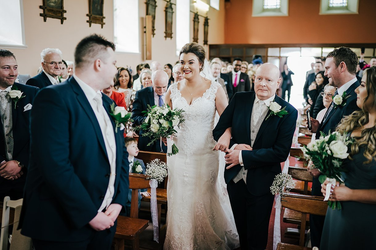 An Chuirt Hotel Gweedore Weddings bride at the top of the aisle