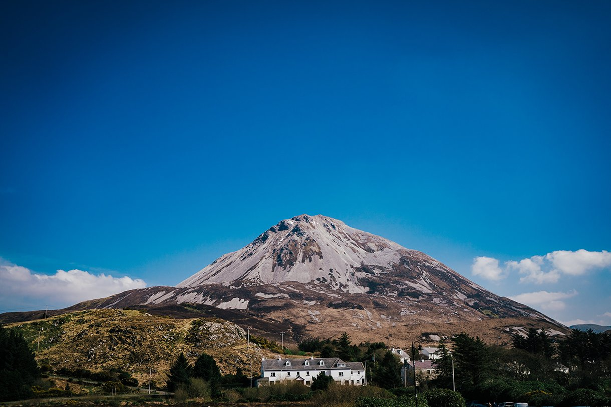 An Chuirt Hotel Gweedore Weddings a view of errigal mountain from the church