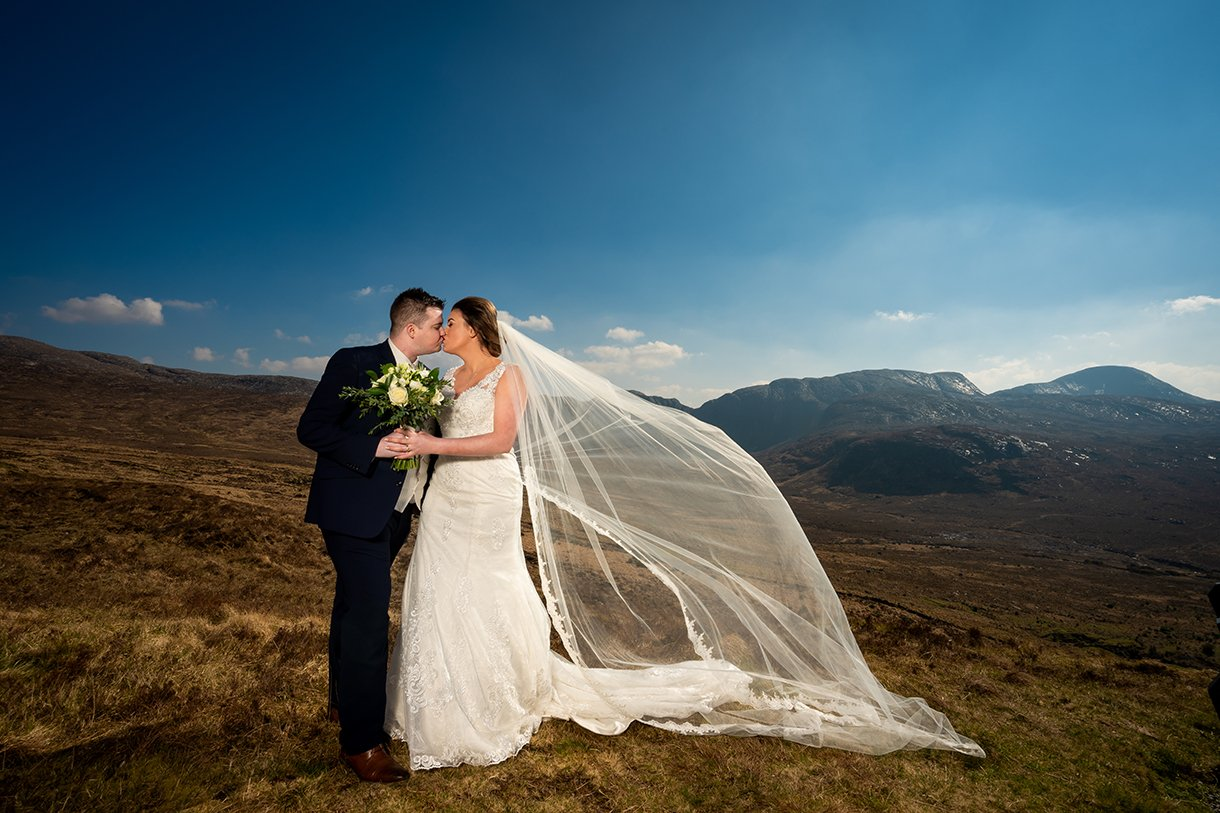 An Chuirt Hotel Gweedore Weddings couple in the poisoned glen