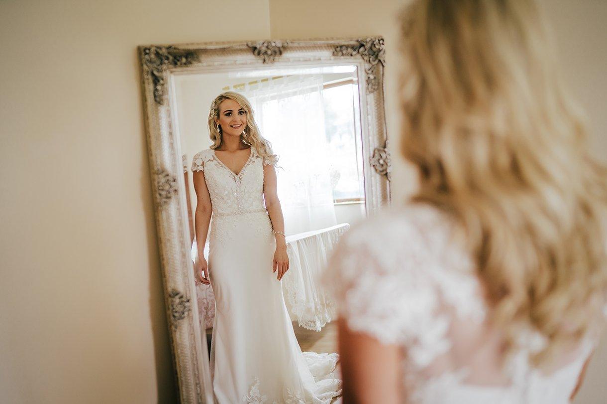 Waterfront Hotel Dungloe Wedding brides reflection in a mirror