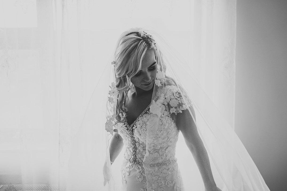 Waterfront Hotel Dungloe Wedding bride portrait black and white photo