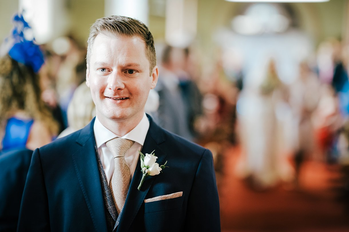 Waterfront Hotel Dungloe Wedding groom waiting at the top of the aisle