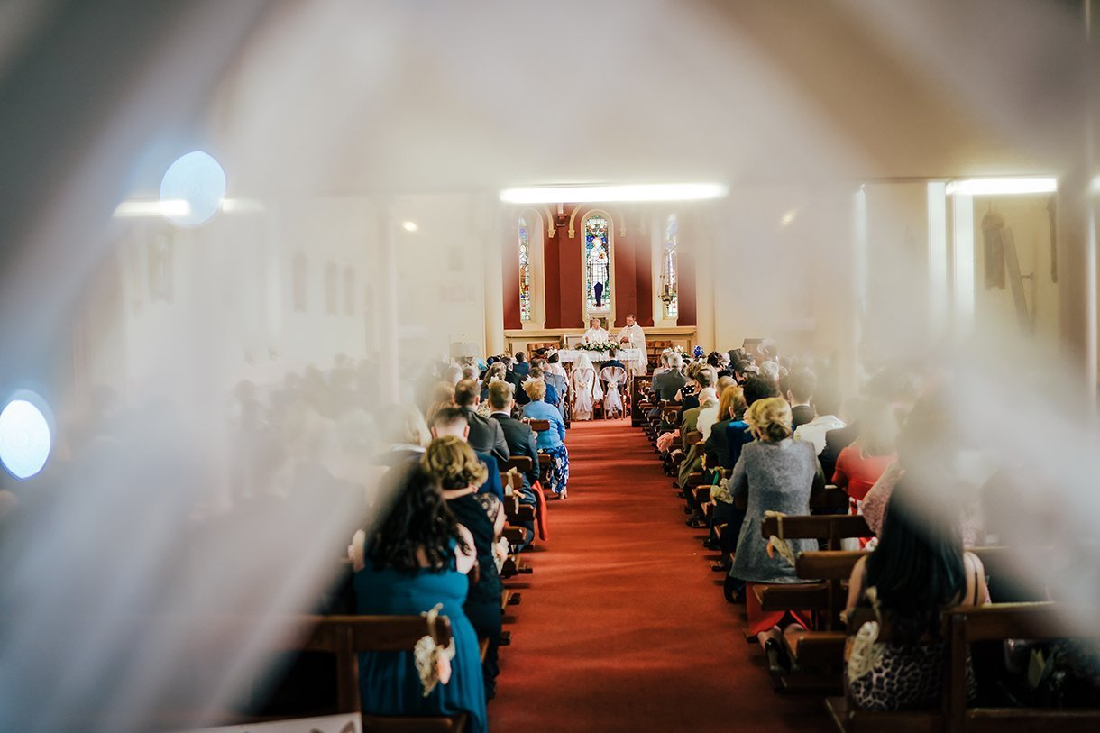 Waterfront Hotel Dungloe Wedding a view down the aisle