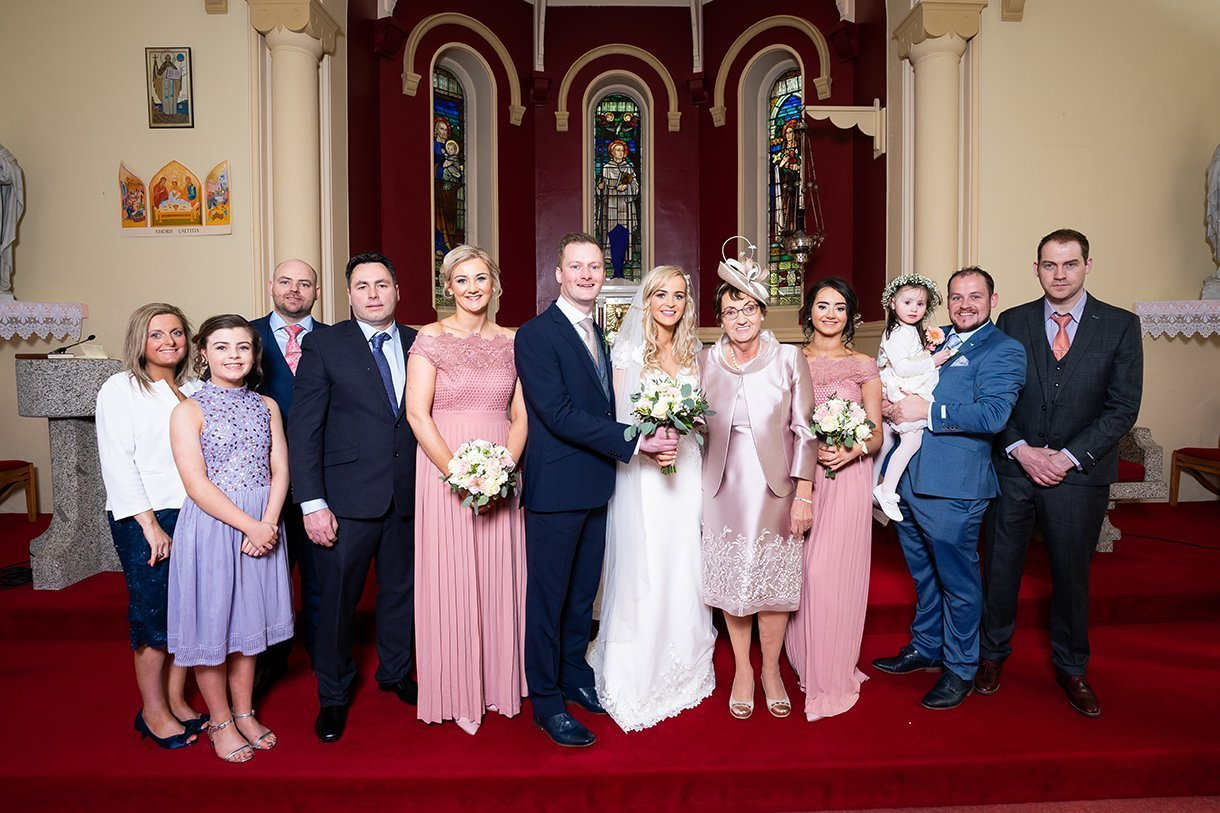 Waterfront Hotel Dungloe Wedding family photo inside the church