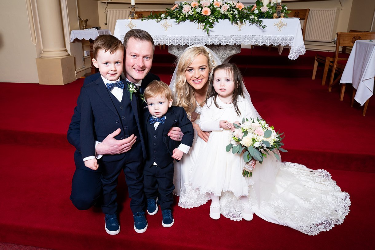 Waterfront Hotel Dungloe Wedding bride and groom with pageboys and flower girl
