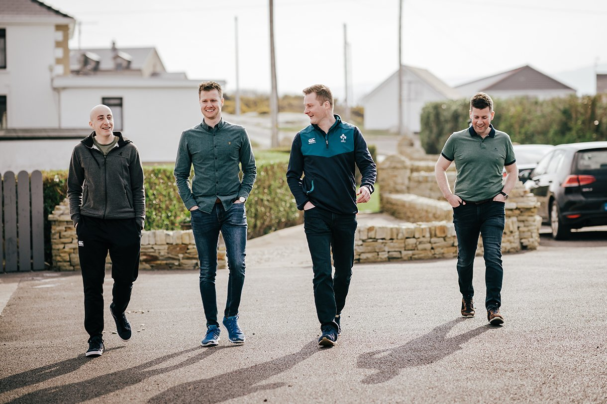 Waterfront Hotel Dungloe Wedding groom and groomsmen out for a walk