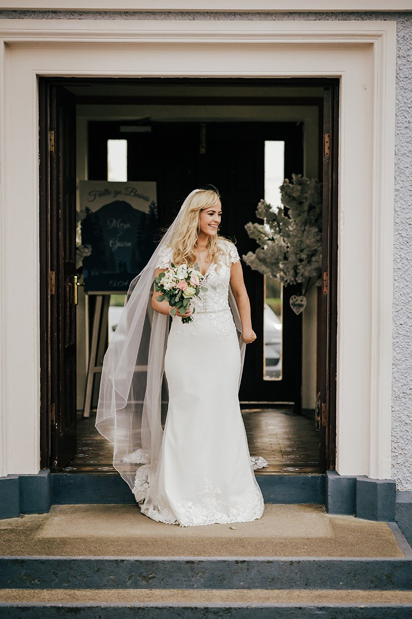 Waterfront Hotel Dungloe Wedding bride at the door of the church
