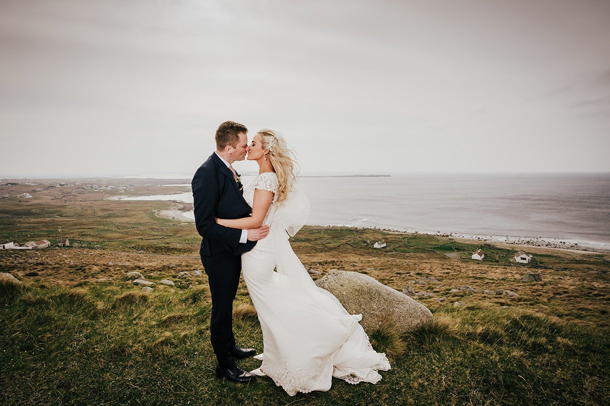 Waterfront Hotel Dungloe Wedding bride and groom photo at bloody foreland