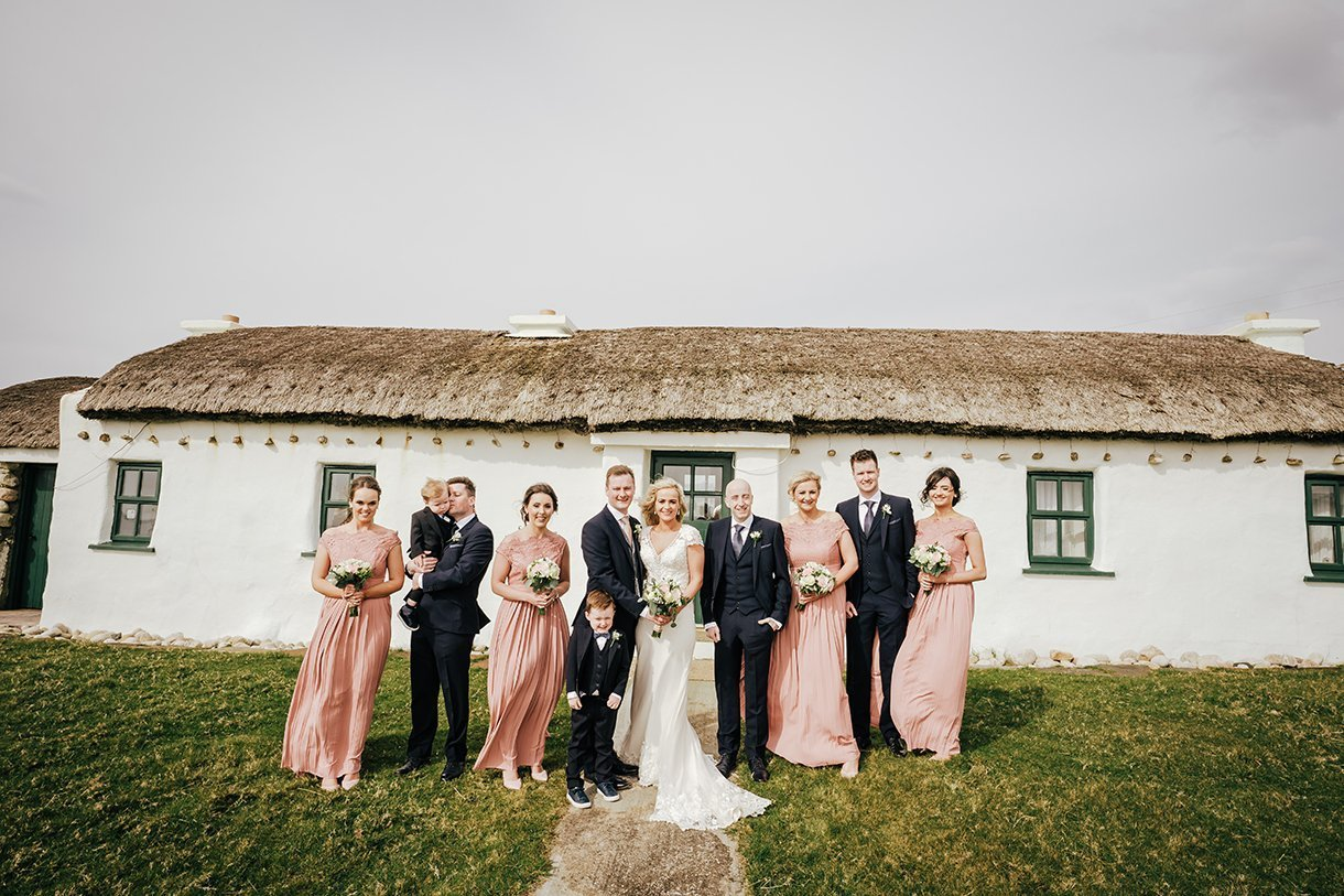 Waterfront Hotel Dungloe Wedding bridal party photo at bloody foreland gweedore