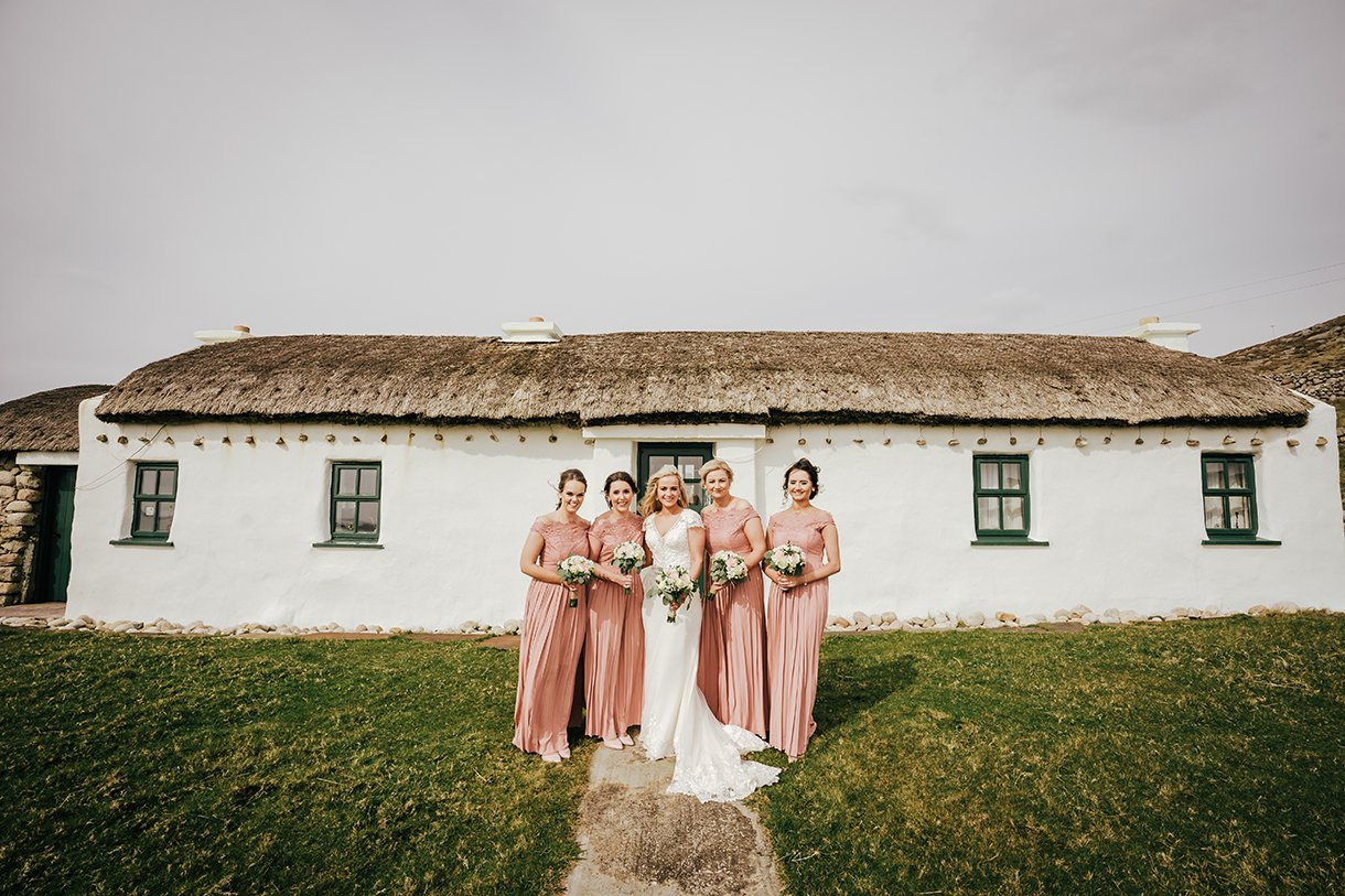 Waterfront Hotel Dungloe Wedding bride with her bridesmaids in gweedore