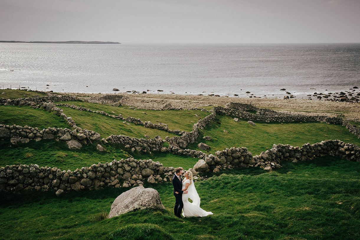 Waterfront Hotel Dungloe Wedding bride and groom on the wild Atlantic coast of Donegal