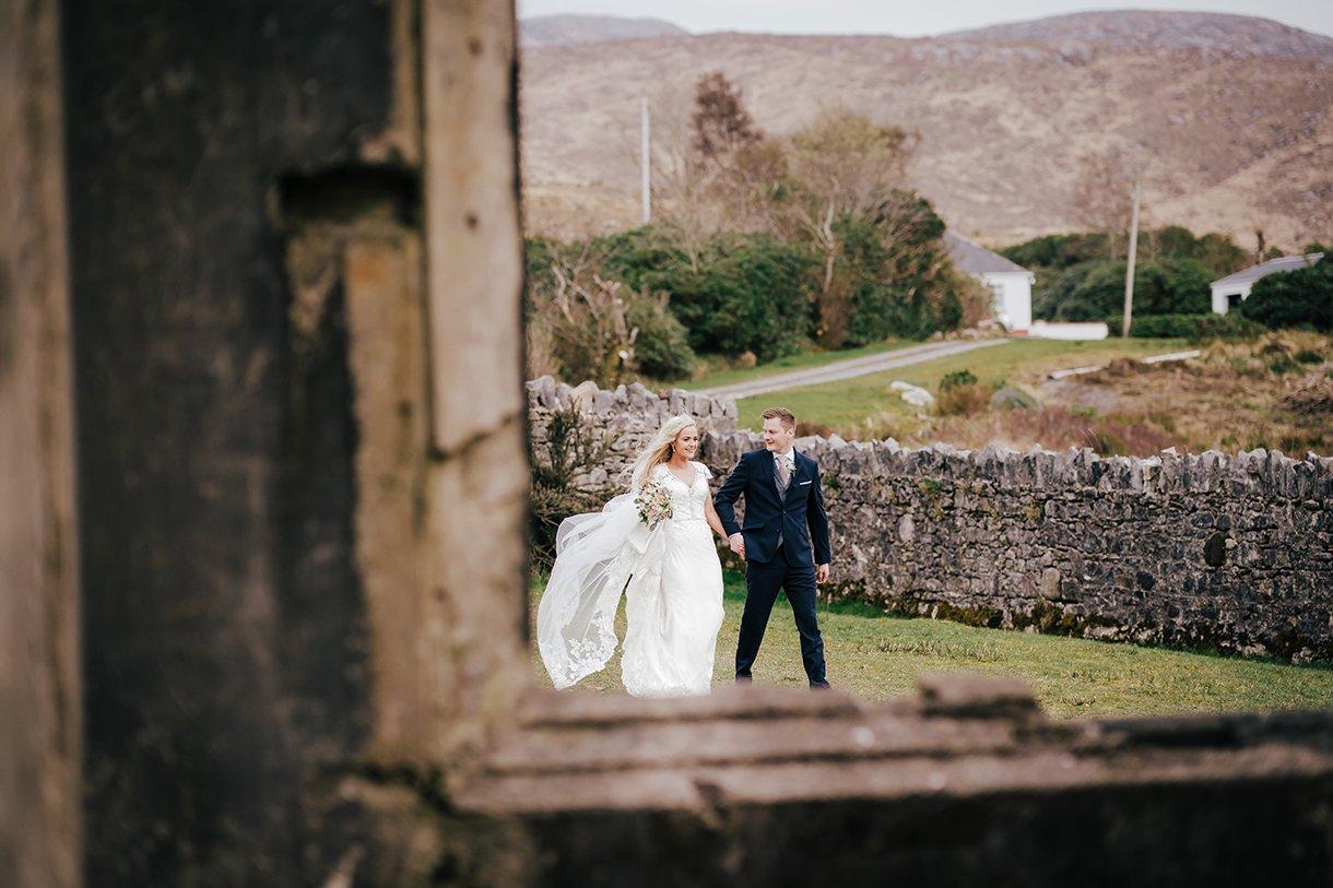 Waterfront Hotel Dungloe Wedding bride and groom at dunlewey church
