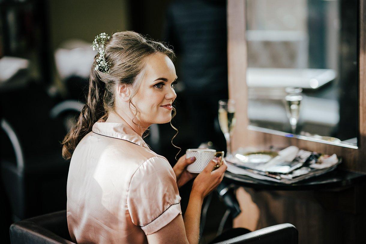 Waterfront Hotel Dungloe Wedding bridesmaid having a cup of tea