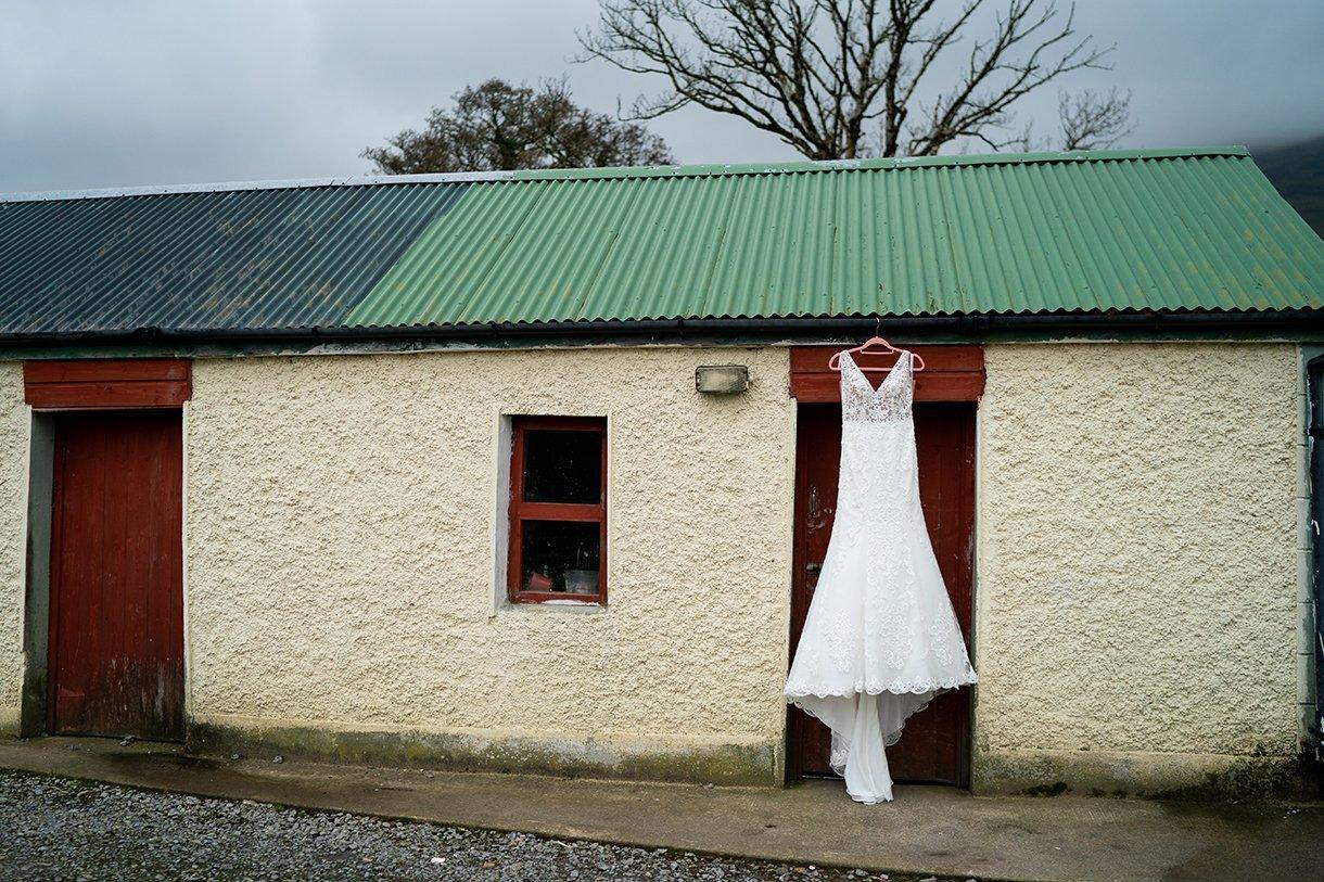 Allingham Hotel Bundoran Wedding brides wedding dress hanging outside