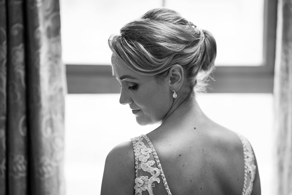Allingham Hotel Bundoran Wedding brides wedding dress from the back