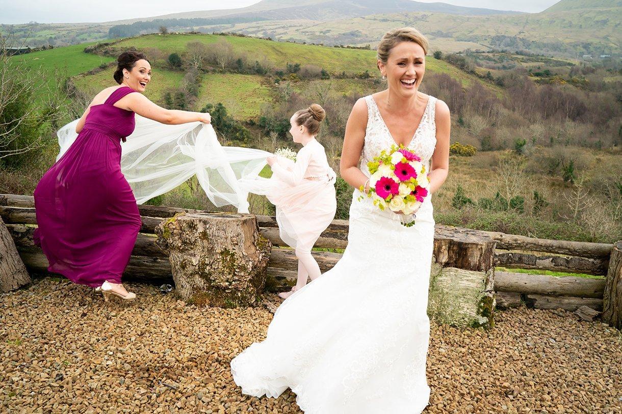 Allingham Hotel Bundoran Wedding brides veil blows off