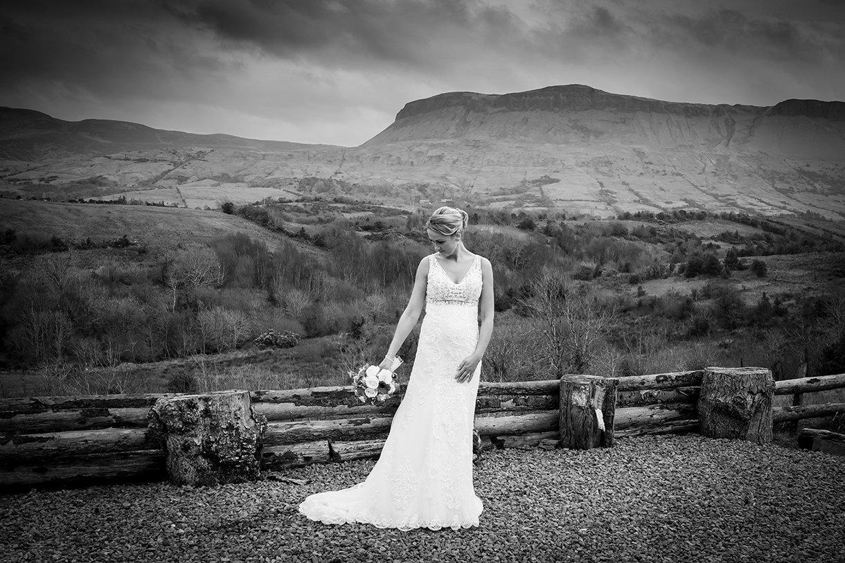 Allingham Hotel Bundoran Wedding bride portrait black and white photo