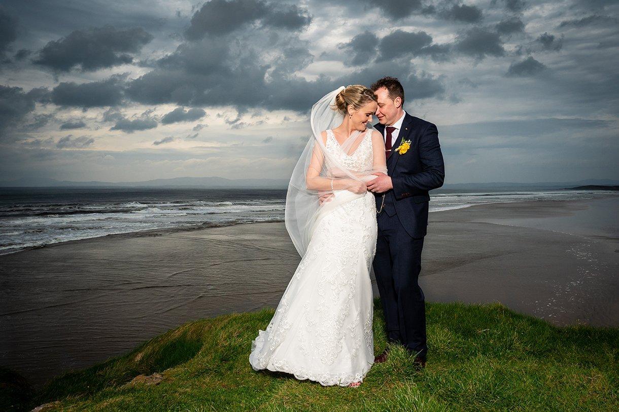 Allingham Hotel Bundoran Wedding bride and groom at roughey