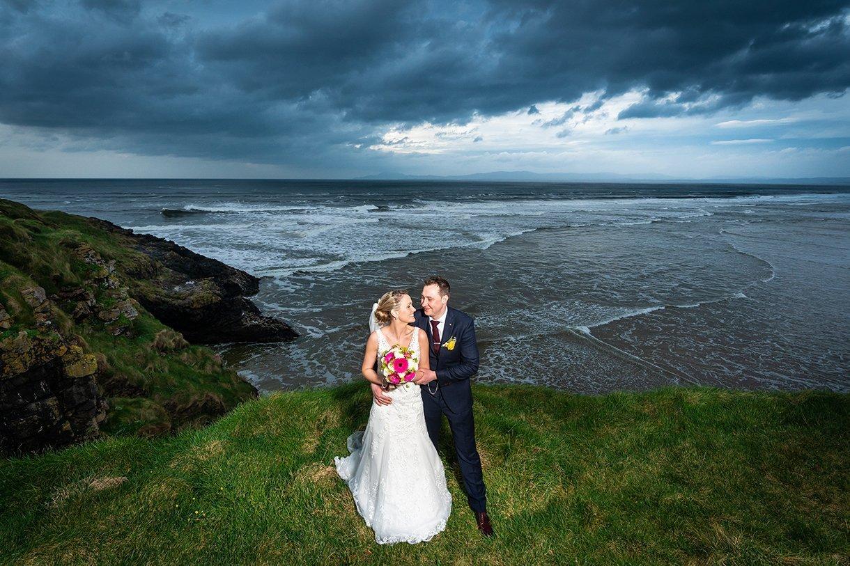 Allingham Hotel Bundoran Wedding bride and groom on cliff tops