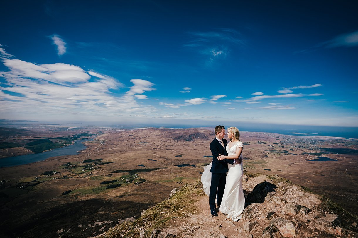 Errigal Mountain Wedding bride and groom at the summit of the mountain