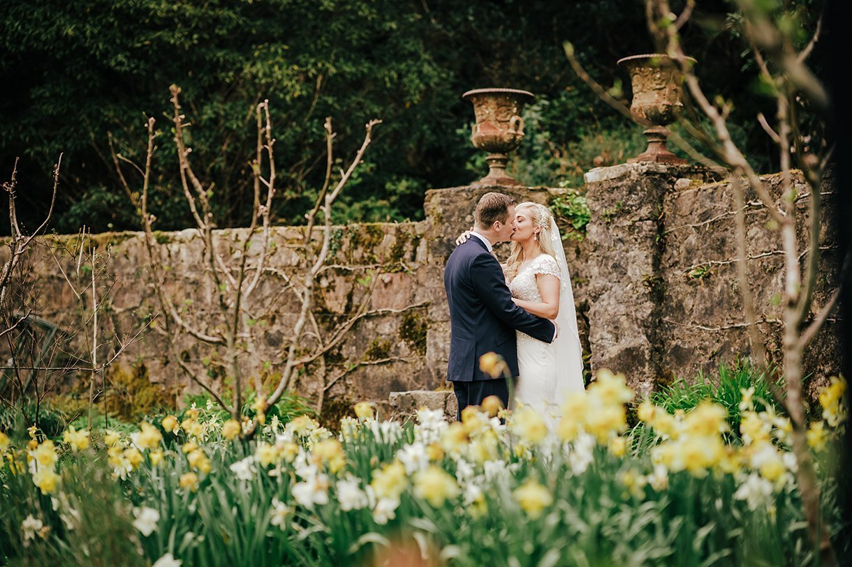 Glenveagh National Park Wedding bride and groom kiss in the daffodils