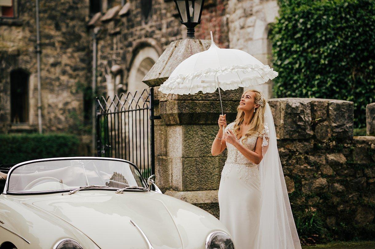 Glenveagh National Park Wedding bride with a white umbrella