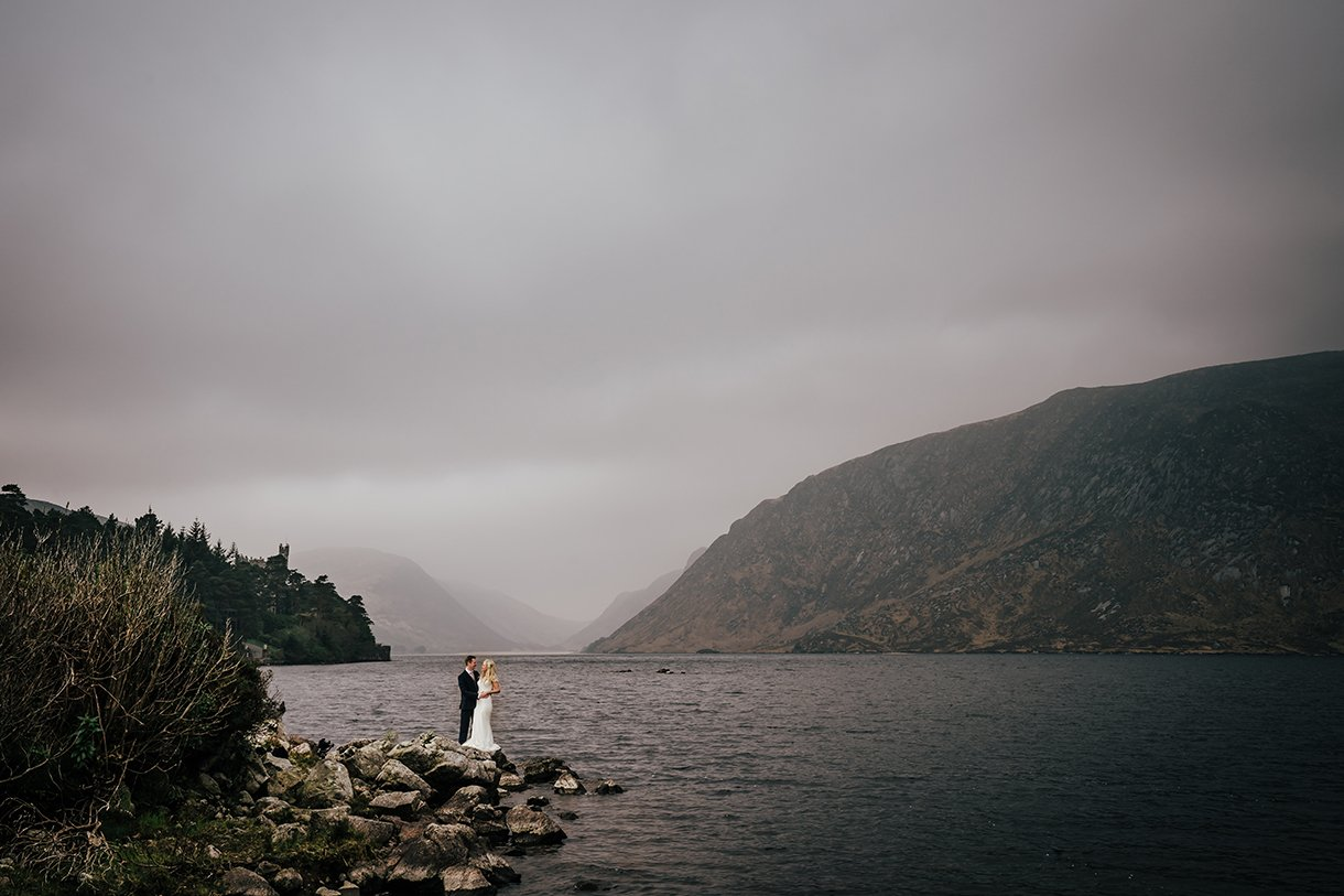 Glenveagh National Park Wedding bride and groom with lough Veagh behind them