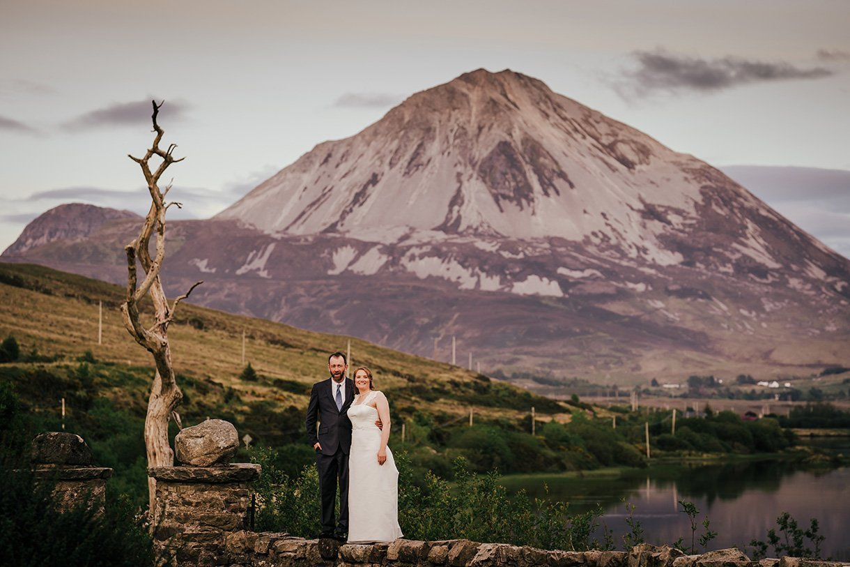 An Chuirt Hotel Weddings bride and groom with errigal mountain